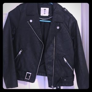 NEW BLACK H&M MOTORCYCLE JACKET SIZE 9-10